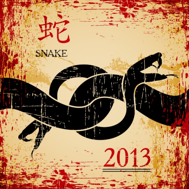 snake card for chinese new year material in chinese wind style
