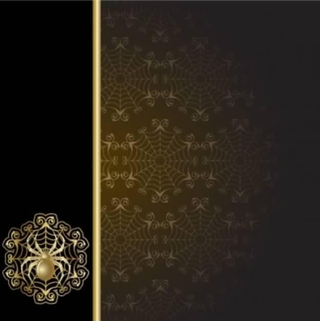 spider pattern over dark and black golden for abstract web