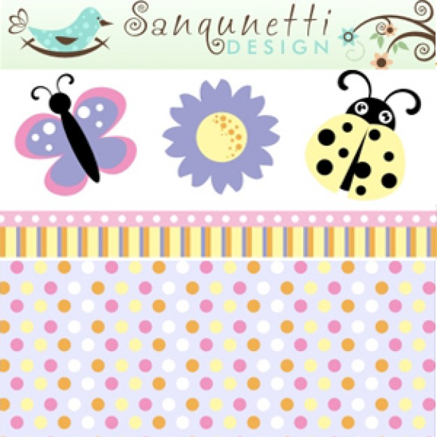 Spring Pack with bird butterfly ladybug flower