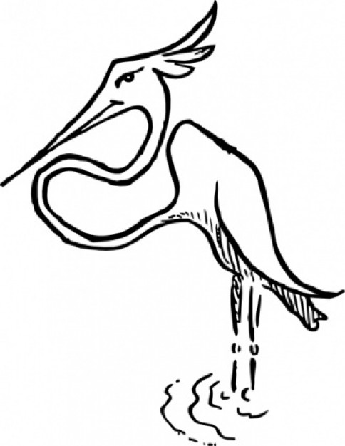 stork clip art drawn by hand with White background