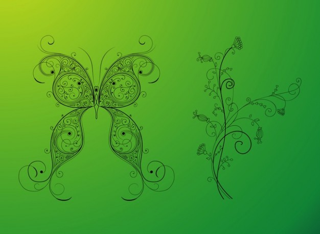 Swirly nature floral and butterfly designs vector with green background