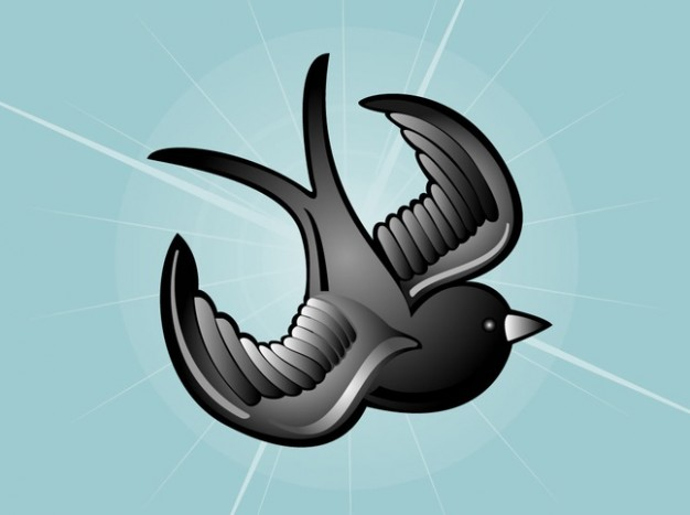 Tattoo beautiful bird vector over light blue background