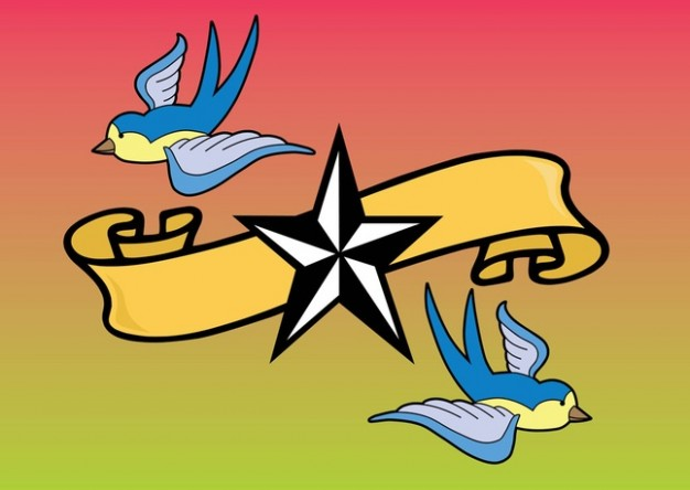 Tattoo Birds Vector with ribbon and star