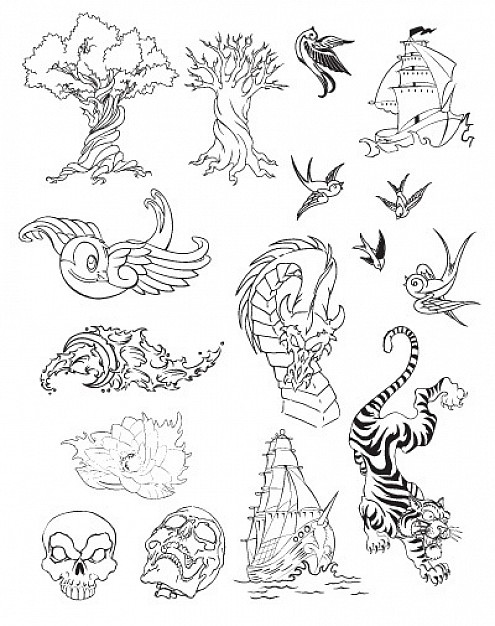 Tattoo Vector Set like dragon tree bird cloud tiger