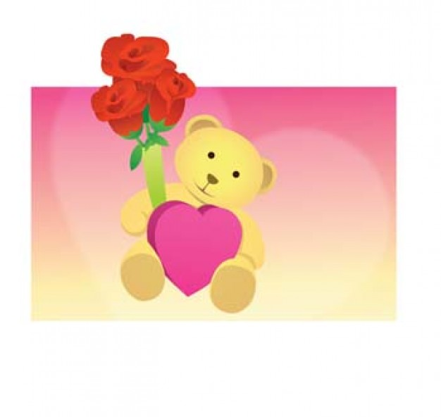 teddy bear with bouquet of rose over pink background