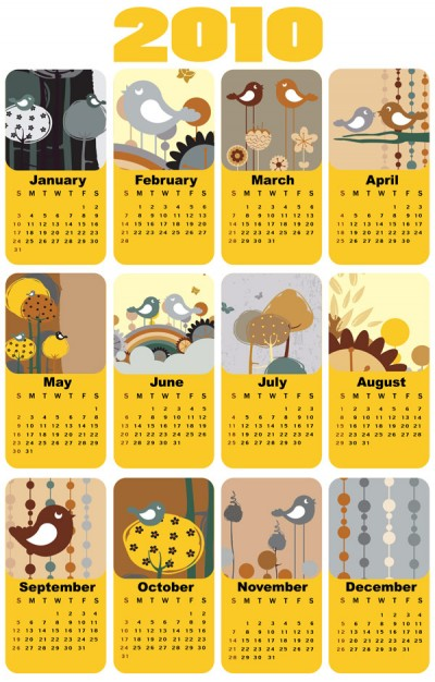 the 2010 calendar template vector with Lovely bird theme
