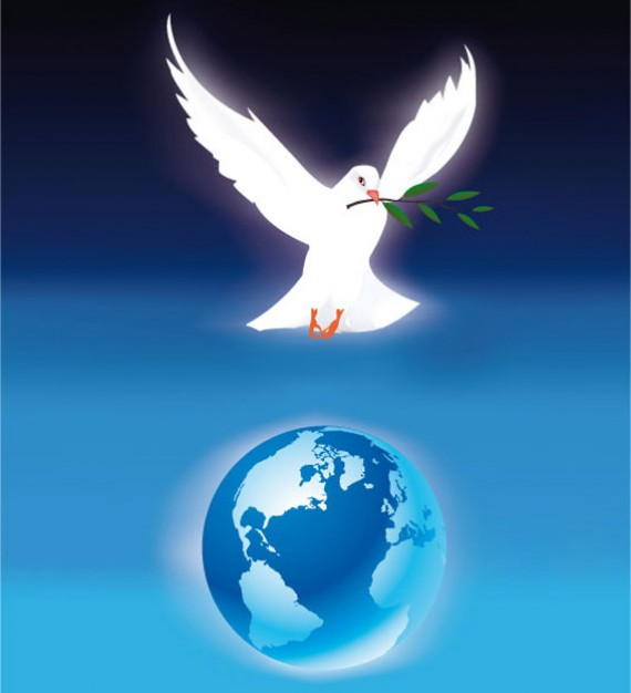 The Freedom dove Bird and earth with blue background