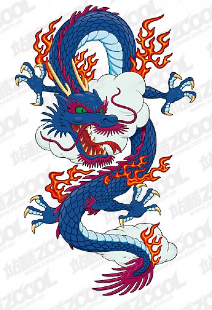The mighty Chinese dragon flying over clouds vector material