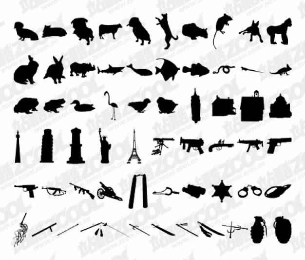 thousand of albums silhouettes vector material including animals and building weapon