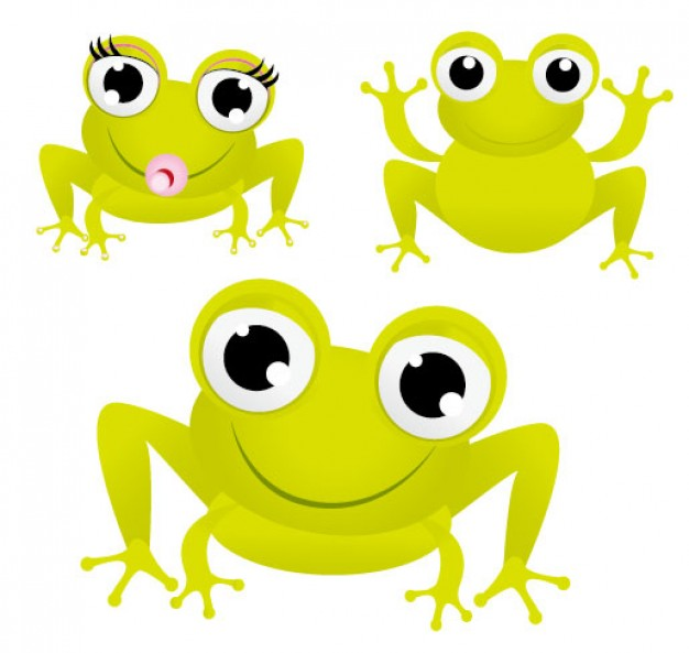 three cute green frogs with big eyes Vector material