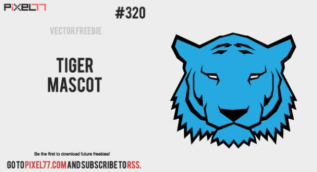 Tiger Mascot face in blue for logo design