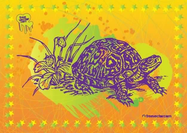 Turtle Vector Art frame with yellow background