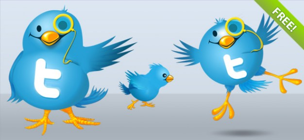 twitter bird illustrations with one glass and jumping