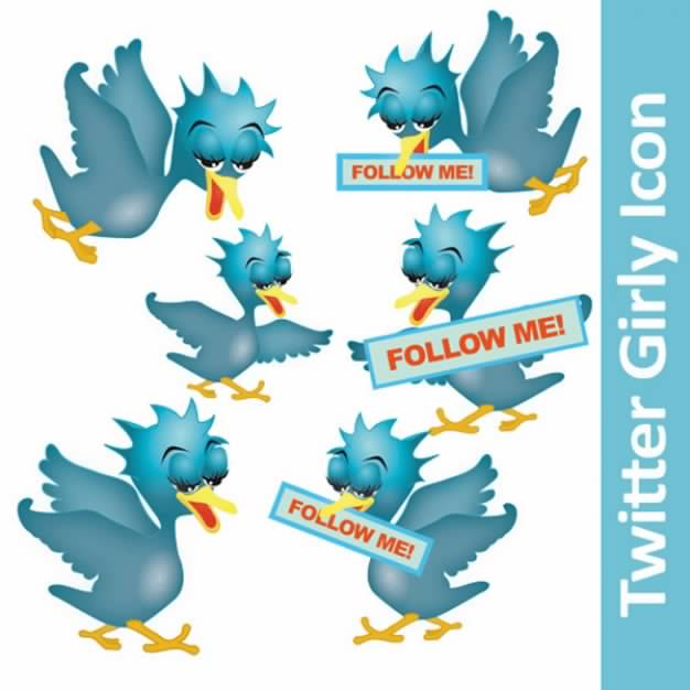 Twitter girly Icon set in blue