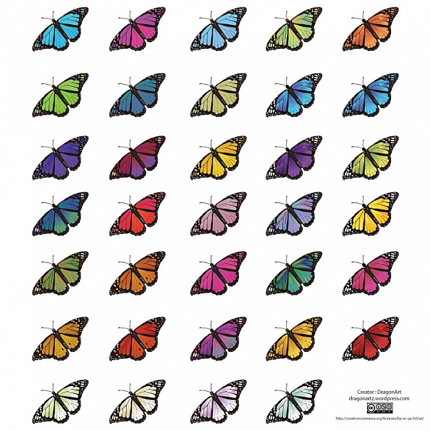 Useful as clipart for scrapbook photo designs Vector with Butterfly graphics in different colors