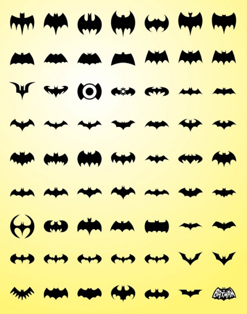 variety of Bat silhouette Vector Graphics over light yellow background