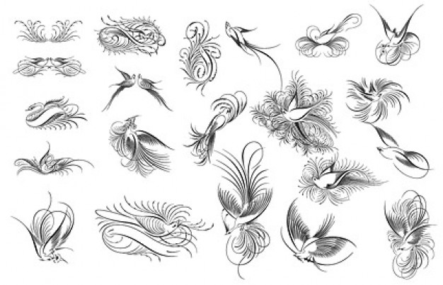 variety of Elegant Birds clipart like flowers in black and white
