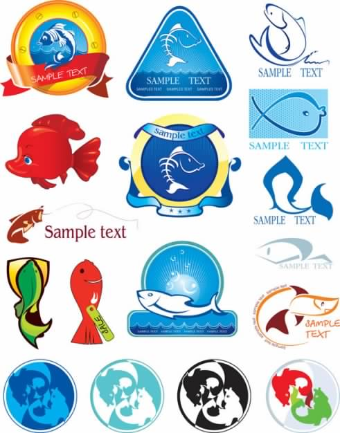 variety of fish Icon vector material of marine elements