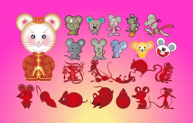 variety of Mice Cartoon characters with pink background