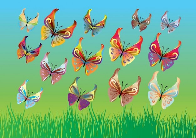 vector colorful butterflies flying over grassland in Spring day