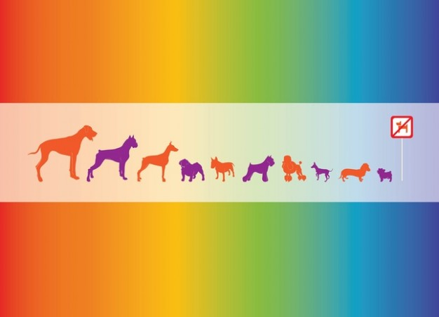 Vector Dogs Graphics with colour spectrum at background