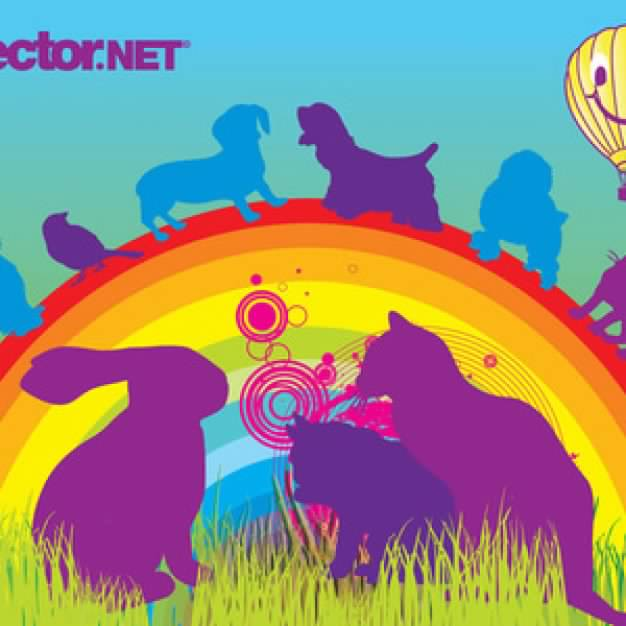 Pets on the rainbow