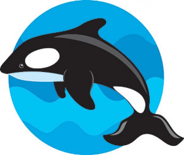 Whale jumping over blue water circle vector material
