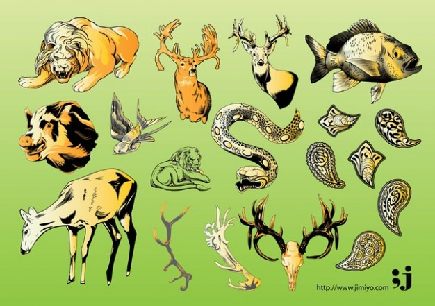 Wildlife Illustrations Vector with snake elk tiger over green background