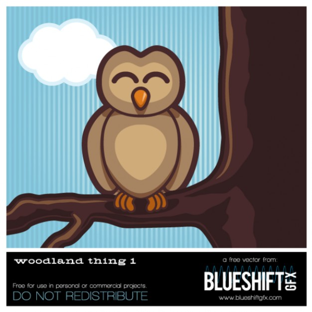 Woodland Owl standing at brown branch Vector with blue sky and cloud at back