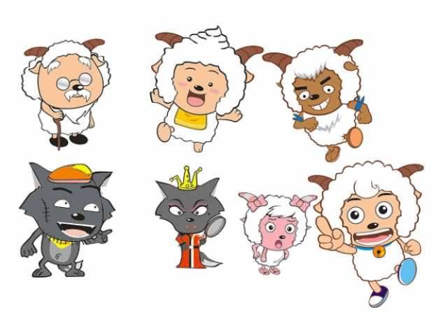 Xiyangyang Sheep And Huitailang Wolf Cartoon Characters