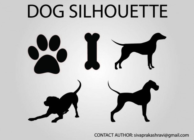 black white dog vector silhouette