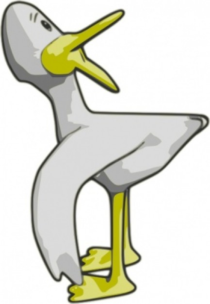 yellow duck looking back clip art with White background