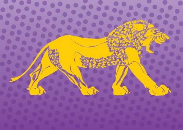 yellow Lion walking in side view Logo Vector over purple dots background