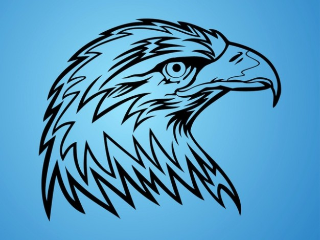 Powerful eagle head symbol with blue background
