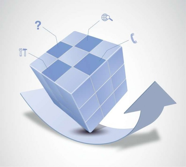 Cube magic Business cube and arrow design about Cuboid Graphics