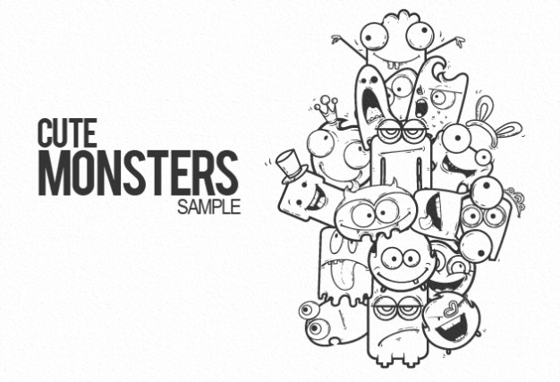 Doodle cute art monsters sample about Movies