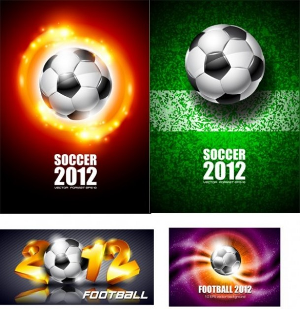 Football soccer Association football ball with four different backgrounds about Soccer Sports