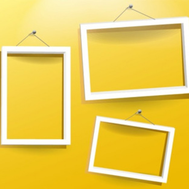Frame three Shopping white empty frames in yellow background about Graphics Business