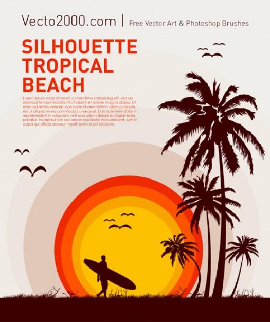 Surfboard tropical Surfing beach silhouette for travel poster design about Alaia Creative work