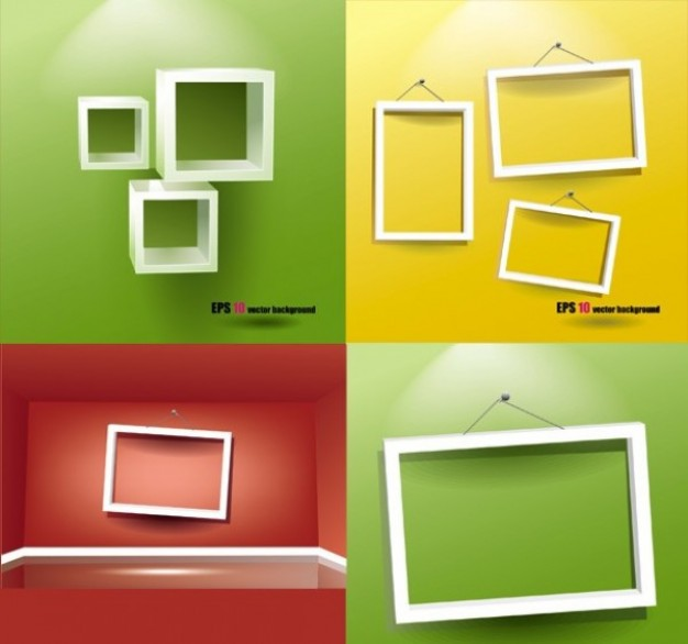 Visual Arts set Frames of white empty hanging frames about Shopping Supplies