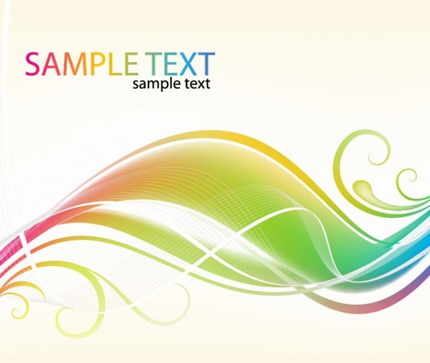 abstract colorful swirl waves with floral side background