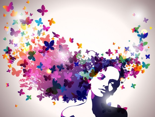 abstract flower background with woman thinking