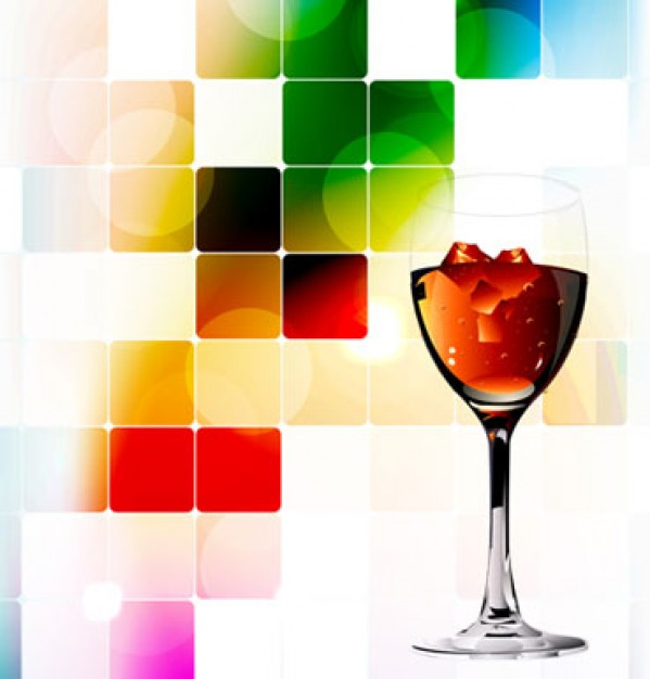 abstract splashing background with red wine cup