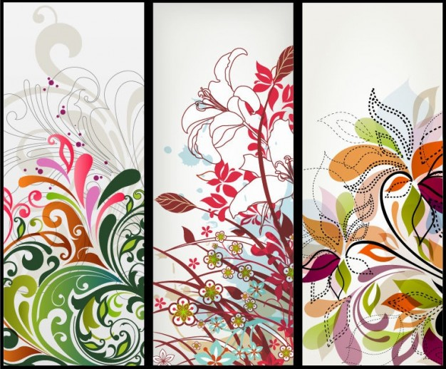 art vertical Graphics floral banners about Interior design Drawing