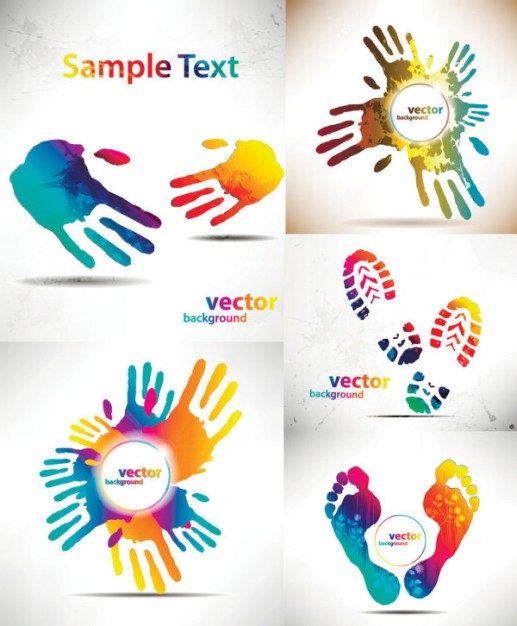 beautiful pattern material with colorful handprints and footprints silhouette