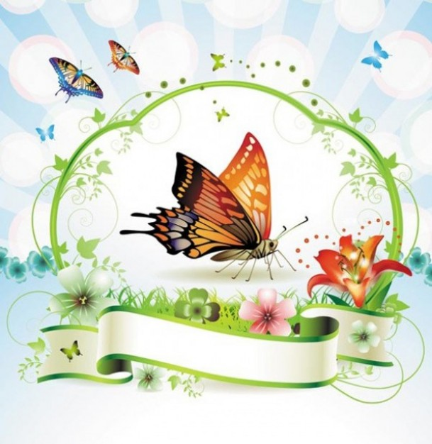 beautiful spring landscape with ribbon and butterfly flying banner