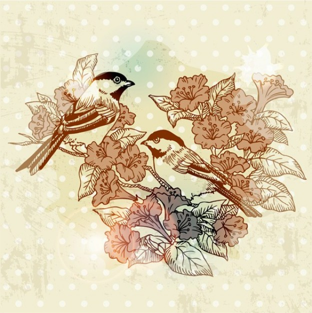 birds with flowers vintage background about vintage art