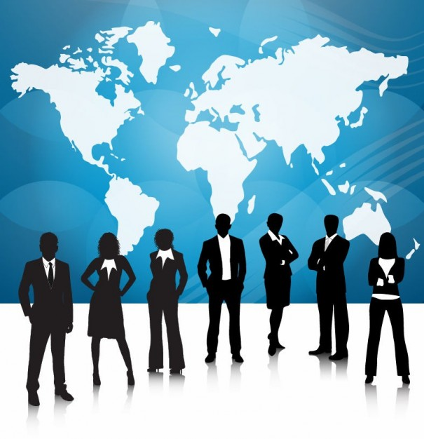 Businessperson Business people team with world map about China People