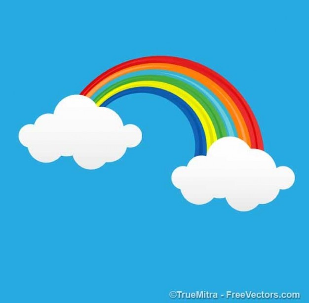 cartoon clouds connect with rainbow