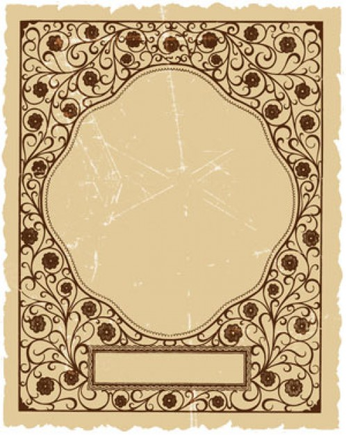 classic frame template with metallic flowers